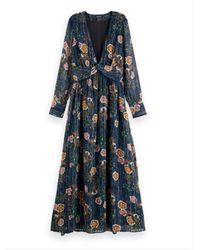 Scotch & Soda Navy Floral Print Chiffon Dress - Blue