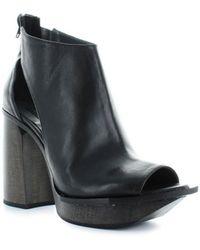 Malloni - Black Leather Open Toe Bootie 37 - Lyst