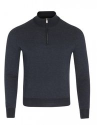 Canali Half Zip Knit (navy) - Blue