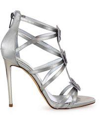 Nina Lilou Ninalilou Swarowski Butterflies Gray Heeled Sandal 36 - Metallic