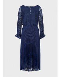 Emporio Armani Spot Pleat Sheer Dress Colour: Blue