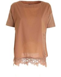 Paolo Fiorillo Capri Macramé Relaxed Fit T-shirt In - Brown
