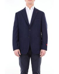 Isaia Single-breasted Solid Colour Jacket - Blue