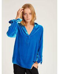 Nrby Lottie Velvet Tie Cuff Shirt - Blue