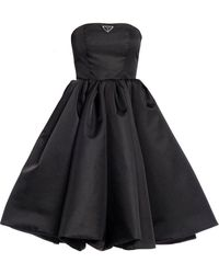 Prada Corset Dress In Re-nylon Gabardine - Black