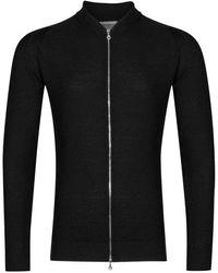 John Smedley 6.singular Honeycomb Full Zip Jacket - Black