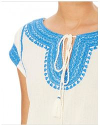 Star Mela - Evie Emb Dress In Ivory And Blue - Lyst