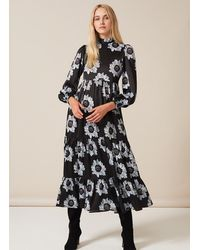 PHOEBE GRACE Betty Dress With Puffed Long Sleeve And High Neck In Blue And Poppy - Black