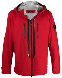 Stone Island Shadow Project Hooded Jacket And Patch Logo - Red