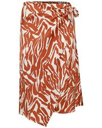 Soaked In Luxury Nikaia Wrap Skirt Zebra - Orange