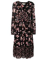 MICHAEL Michael Kors Floral Printed Midi Dress - Black
