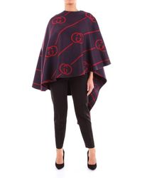 Gucci Outerwear Poncho Women Blue And Red