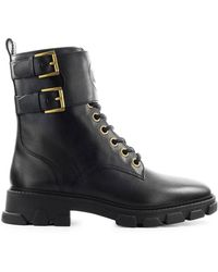Michael Kors Ridley Black Leather Combat Boot