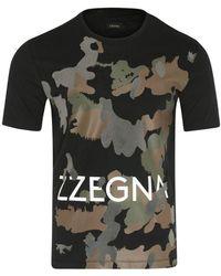 Z Zegna Camouflage Print T-shirt - Blue