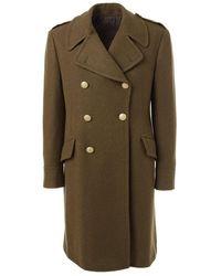 Lardini Double Breasted Wool Coat - Green