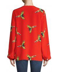 Diane von Furstenberg Keyhole Bird Print Silk Blouse - Red