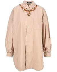 Undercover Crystal Necklace Overshirt - Pink
