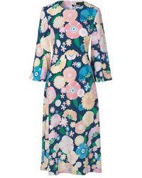 Stine Goya Antonia Floral 70s Dress - Blue