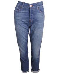 7 For All Mankind Josefina Boyfriend Jeans Luxe Denim - Blue