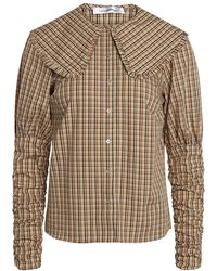 co'couture Cocouture Cilla Checked Collar Shirt - Brown