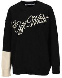Off-White c/o Virgil Abloh Embroidered Logo Clour Block Jumper - Black