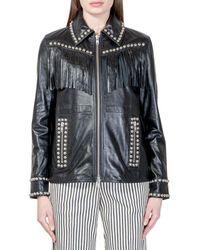STAND Leather Fringed Jacket - Black