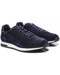 Loake Suede Bannister Sneakers Colour: Navy - Blue