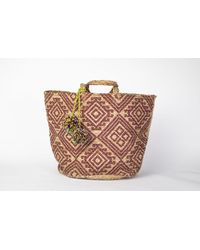 Yunion T Plum And Natural Coloured Large Ikat Style Hand Woven Basket - Multicolour