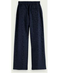 Scotch & Soda Animal Print Wide Leg Trouser - Blue