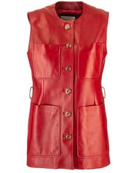 Gucci Women's 629531xn3366460 Red Leather Vest