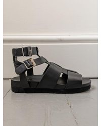 Grenson Lottie Leather Gladiator Sandals - Black
