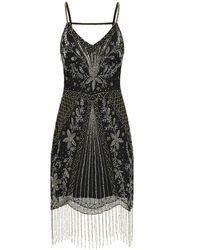 Frock and Frill Haydyn Embellished V Neck Fringed Flapper Dress - Black