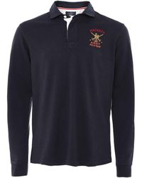 Hackett Classic Fit Army Rugby Shirt Colour: Navy - Blue