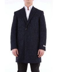 Canali Single Breasted Twill Coat - Black