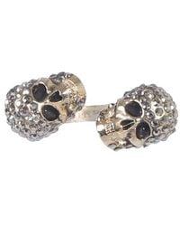 McQ Twin Skull Ring - Metallic
