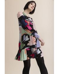 Tallulah & Hope Jess Button Front Short Dress Honeyguide - Multicolour