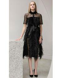 Huishan Zhang Jasmine Tulle Shirt Dress - Black