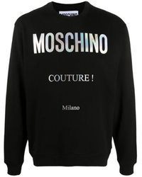Moschino Men's Holographic Logo Sweatshirt Black Colour: Black, S