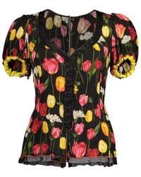 Dolce & Gabbana Floral Print V-neck Blouse - Black
