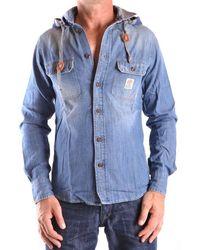 Franklin & Marshall Men's Mcbi31348 Light Blue Cotton Shirt