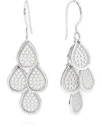 Anna Beck Classic Beaded Chandelier Earrings - Metallic