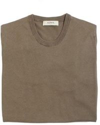 Alpha Studio T-shirt In Cotone Basic Old Militare - Brown