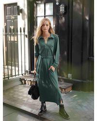 Nrby Lexie Jersey Belted Shirt Dress Sage - Green