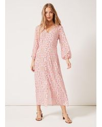 PHOEBE GRACE Matilda V-neck Buttoned Front Long Puff Sleeved Dress Red Stripe Daisy - Pink