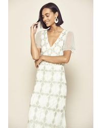 Frock and Frill Judith Diamond Embellished Short Sleeve Midaxi Dress - White