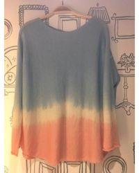 120% Lino - Round Neck Dip Dyed Cashmere Jumper In Peach/turquoise - Lyst