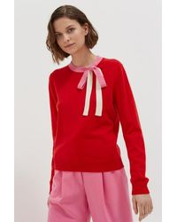 Chinti & Parker Wool-cashmere Tie-neck Sweater - Red
