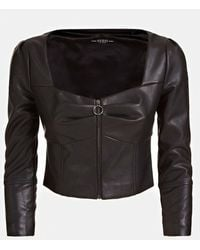 Guess Stretch Faux Leather Cropped Jacket - Black