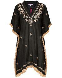 Naudic Noosa Kaftan Laila Embroidery Black Naug-766