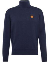 KENZO Tiger Crest Turtle Neck Sweater - Blue
